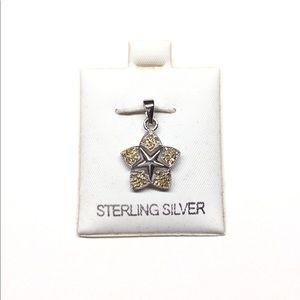 Natural citrine Sterling silver star pendant